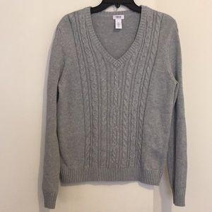 Gray Izod V-Neck Cable Knit Sweater